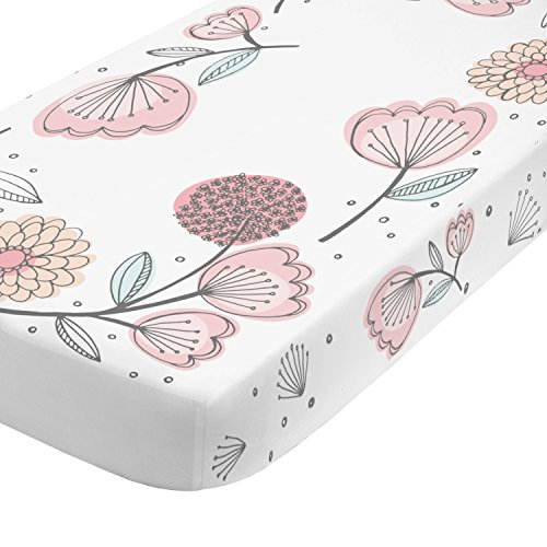 Cotton Baby Organic Comforter (NoJo Photo Op 100% Cotton Fitted Crib Sheet, Floral, Pink/Gray)