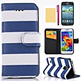 S6 Edge Case, [Rainbow Design] Premium Synthetic Leather Wallet Case [Credit Card Slots] Folding Stand Folio Cover Magnetic Design Ultra Slim Skin for Samsung Galaxy S6 Edge(Blue)