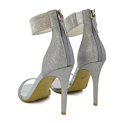 Strass Glamour In Argento Con Cinturino Alla Caviglia E Tacco A Spillo In Diamante