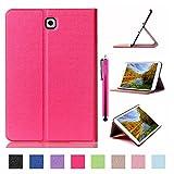 Galaxy Tab S2 9.7 Case, JCmax Premium Flip PU Leather Case [Kickstand Design] [Auto Sleep/Wake Feature] for Samsung Galaxy Tab S2 9.7 (SM-T815) Tablet + One Stylus Pen -Hot Pink