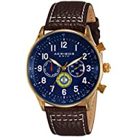 Akribos XXIV Men's AK751BR Swiss Quartz Movement Watch with Blue Matte Dial and Multicolored Sub dials with Brown and White Stitching Leather Calfskin Strap