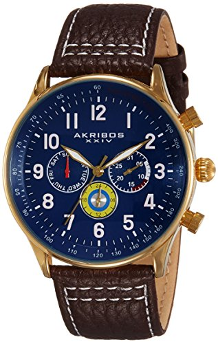 Akribos XXIV Men's AK751 Swiss Quartz Movement Watch with Matte Dial and Multicolored Sub dials with Stitching Leather Calfskin Strap (Brown)