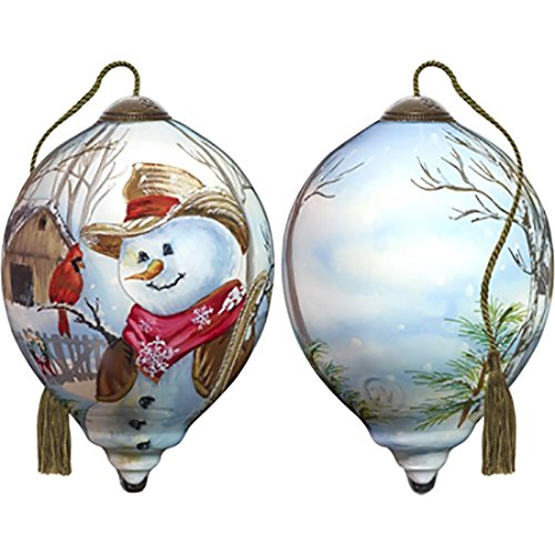- Ne'Qwa Art Hand Painted Blown Glass Western Winter Snowman Ornament,