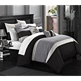 Chic Home 8-Piece Lucca Quilted Embroidered Comforter Set, Queen, Black