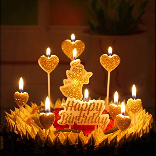 W Gold Happy Birthday Candles Glitter Angel Heart Cake Toppers Baby Boys Party Decorations Home Kitchen
