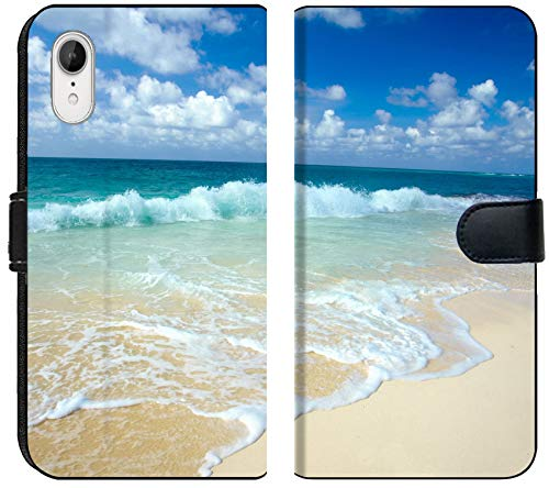- Liili Premium iPhone XR Flip Micro Fabric Wallet Case The Beach Photo 6934946