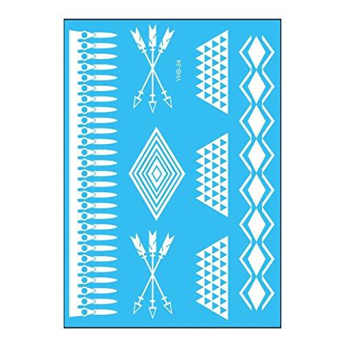 Oottati Tatouages Temporaires Mariée Blanche Mariage Mandala Flèches De Diamant (2 Feuilles)