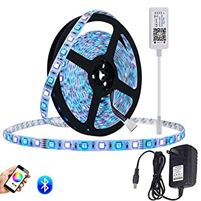 Smart RGBW LED Strip Lights Kit,5m 300LEDs RGB + White Bluetooth Phone Controlled Waterproof Rope Lighting Sync to Music LED Ribbon Tape with self Adhesive Flexible Strips for Home Lighting