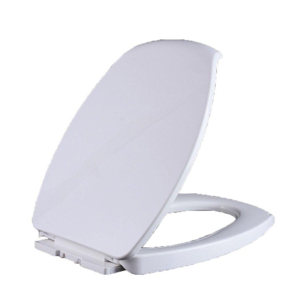 Universal Toilettensitz Grünieft Stumm Verdickt Leiter Toilettensitz Antibakteriell Zubehör,Weiß-46.5  36.5cm
