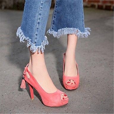 LvYuan Mujer-Tacón Stiletto-Otro-Sandalias-Oficina y Trabajo Vestido Informal-Terciopelo-Negro Rosa Morado Pink