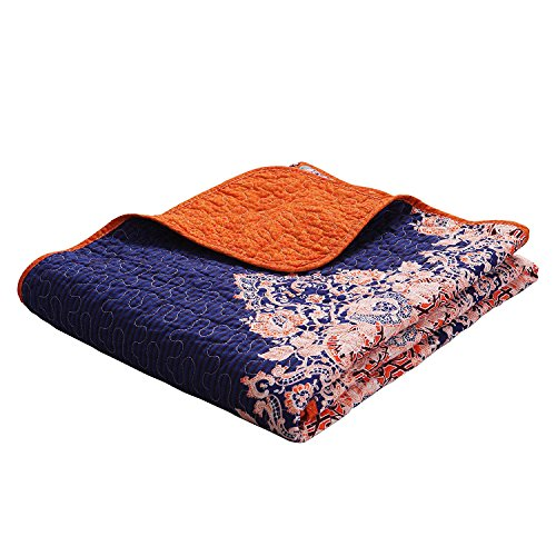 Exclusivo Mezcla Luxury Reversible 100% Cotton Rich Printed Boho Stripe Quilted Throw Blanket 60