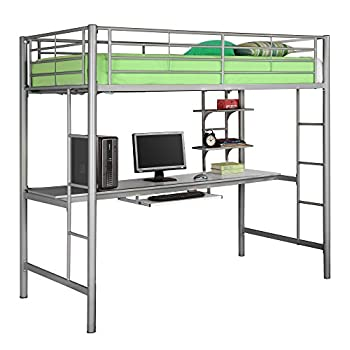 Walker Edison Twin Metal Loft Bed with Workstation, Silver