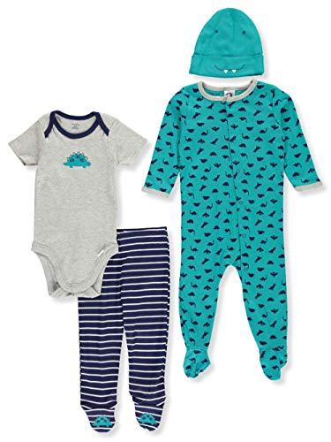 Gerber Baby Boy 4 Piece Sleep 'n Play, Onesies, Footed Pant and Cap Set, dinosaur, 3-6 Months