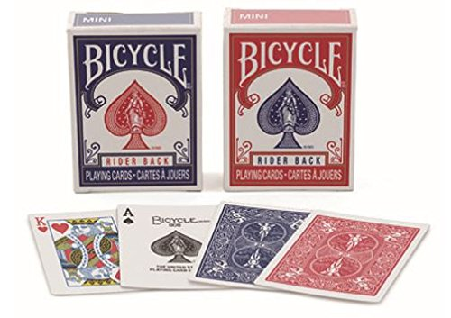 Bicycle RIDER BACK MINI PLAYING CARD DECKS- 2 DECK SET, ONE RED & ONE BLUE 2.5
