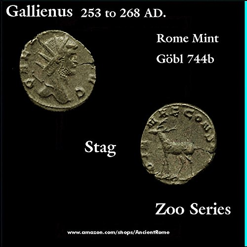 253 IT 268 AD. GALLIENUS. Zoo Series: STAG. Rome Mint. Ancient Roman Empire Coin. Bronze Good ()