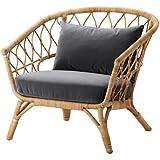 Bon Ikea Chair With Cushion, Rattan, Sandbacka Dark Gray 2206.2235.1018