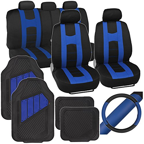 PolyCloth Sport Seat Covers Rubber Floor Mats & Steering Wheel Cover for Auto Car SUV Truck - Two Tone Black & Blue