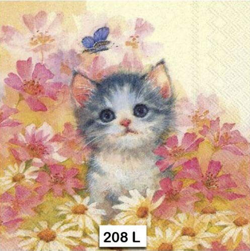 Two Individual Paper Luncheon Decoupage Napkins Kitten CAT 208