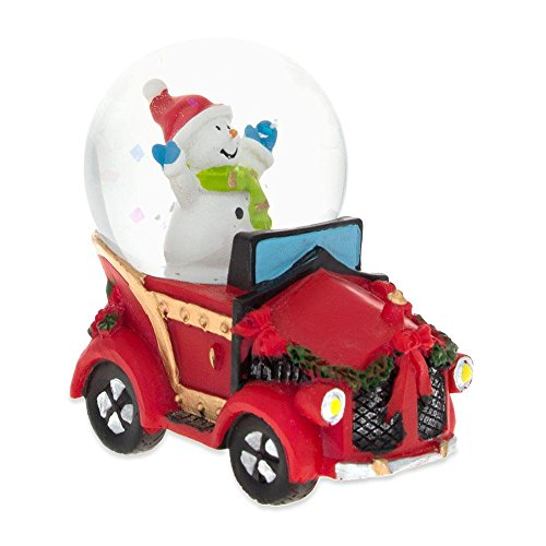 Snowman Snowglobe Christmas Figurine - BestPysanky Joyful Snowman Riding a Christmas Car Miniature Snow Globe