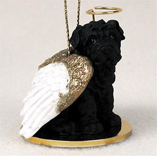 (Ky & Co YesKela Shar Pei Dog Figurine Angel Statue Black)