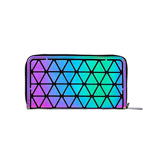 LANPA Women Clutch Purses Handbags Wallet (2018 New Design) Geometric Luminous Purses for Women Money Clip Diamond Zipper Men Wallet