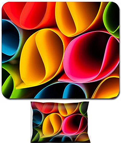 Liili Mouse Wrist Rest and Small Mousepad Set, 2pc Wrist Support Colorful card in unique elliptical shapes with shadow effect and selective Photo 23358504 by Liili Customized Premium Deluxe Pu