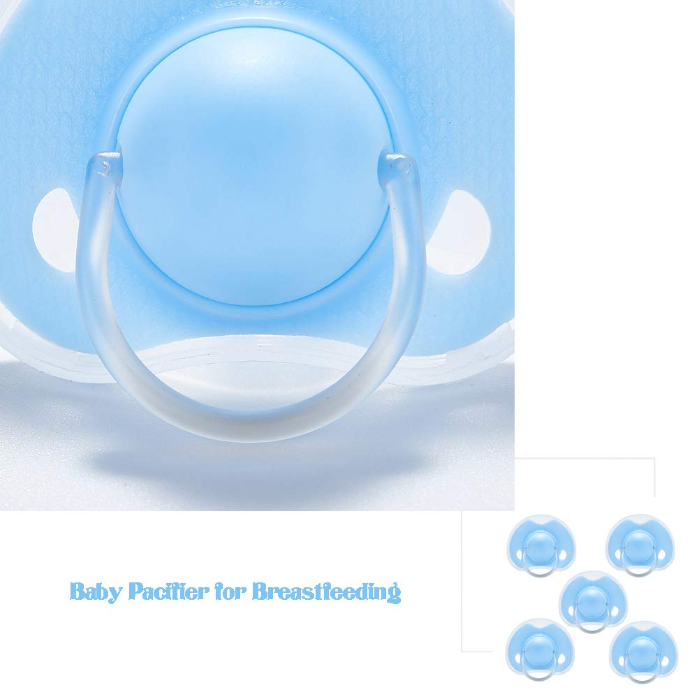 Chupete de beb/é reci/én nacido para la lactancia materna silicona Chupetes Chupete Juguetes Fundamentos beb/é perfecto registro del beb/é azul del regalo 5Pcs