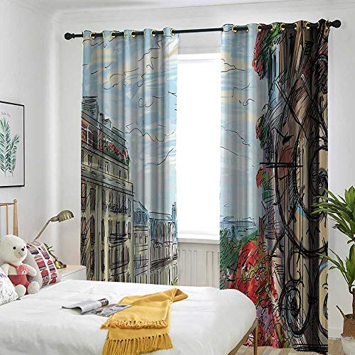 Paris City Decor Collection Thermal Insulated Blackout Curtains Street in Paris Town Traffic Trees Downtown Urban Life Exterior Monument Scene Print Simple Stylish 84