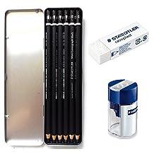 Staedtler Mars Lumograph Black Artist Wooden Lead Pencil - Box of 6 (8B 6B 4B 4B 2B 2B) in Metal Box- With Tub 2-Hole Sharpener and Free Eraser