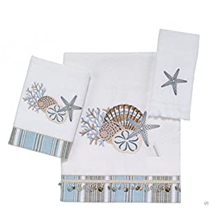 Avanti Linens By The Sea Shell 3 Piece Towel Set, One Bath Towel, One Hand Towel and One Fingertip Towel