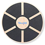 #LightningDeal Yes4All Wooden Wobble Balance Board – Exercise Balance Stability Trainer 15.75 inch Diameter - Black - ²DB6FZ
