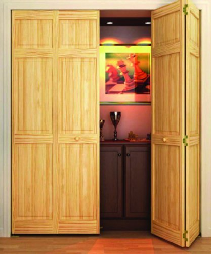 Closet Door, Bi-fold, 6-panel Style Solid Wood (80x24) - Wood Closet Doors