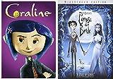 Dark Tales Corpse Bride Tim Burton Animated DVD & Coraline Movie Double Feature Bundle