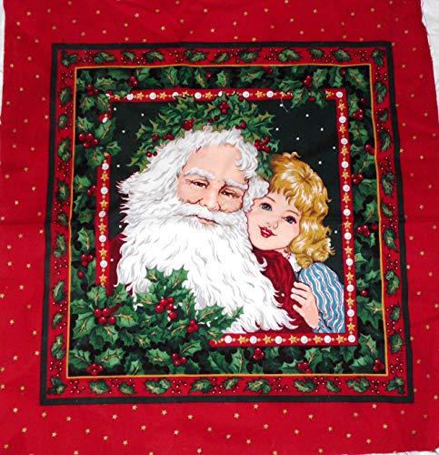 Christmas Holiday Santa and Child Cranston Print Works Fabric Panel 17