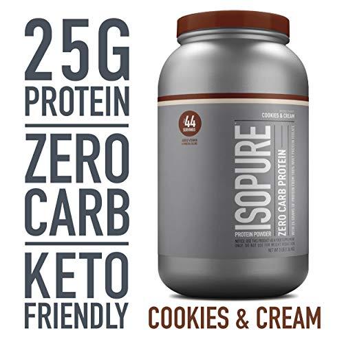 Isopure Zero Carb, Keto Friendly Protein Powder, 100% Whey Protein Isolate, Flavor: Cookies & Cream, 3 Pounds