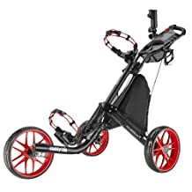 Caddytek EZ-Fold 3 Wheel Golf Push Cart, Red by CaddyTek