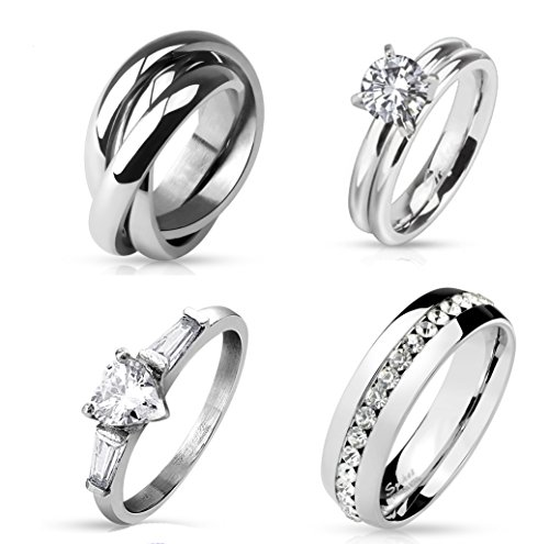 Heart Link Ring (4 STAINLESS STEEL RINGS,Triple Roll Links Band Ring 316L Stainless Steel,Eternity CZ Set Stainless Steel Dome Rings,Heart CZ and Princess Cut CZ Stainless Steel Ring,Prong CZ Solitaire ring (5))