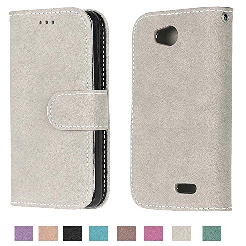 Optimus L90 Case, Optimus L90 Wallet Case TOMYOU Suede Leather Scratch-resistant Anti Slip Built in Card Slots Holder Kickstand Cover for LG Optimus L90 Gray