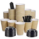 12oz 100 Packs Insulated Kraft Ripple Wall Disposable To Go Paper Coffee Cups