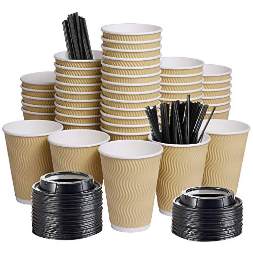 12oz 100 Packs Insulated Kraft Ripple Wall Disposable To Go Paper Coffee Cups for Office Parties Home Travel Corrugated Sleeve Hot Drink Cups with Lids & Straws