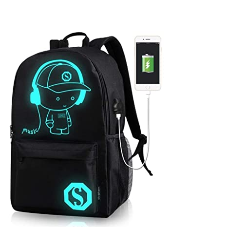 Amazon.com: School Bags Anime Luminous Backpack Canvas Shoulder Daypack Boy Rucksack (Music Kid): Computers & Accessories