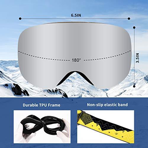 Supertrip Kids Ski Goggles Boys & Girls Over The Glasses Anti Fog Snow Snowboard Goggles UV Protection Helmet Compatible Non-Slip Strap Double Lens for 7-13 Year Children
