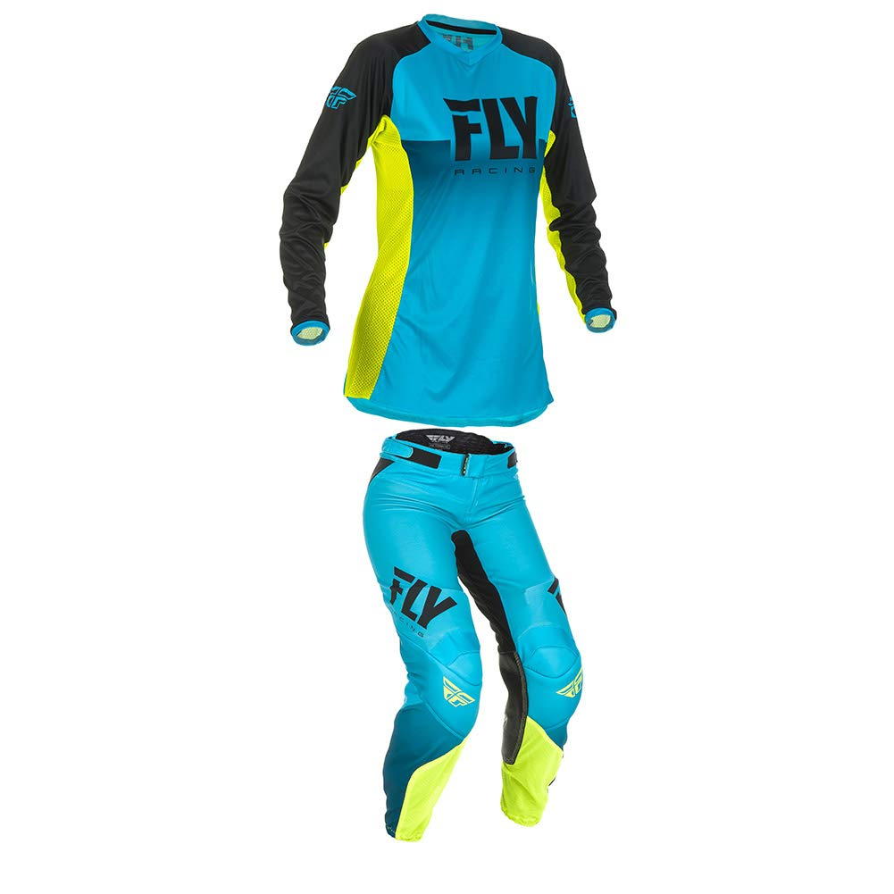 Fly Racing 2019 Womens Lite Jersey and Pants Combo Blue/Hi-Vis Small, 00/02