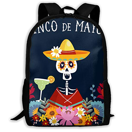 SARA NELL School Backpack Cinco De Mayo Greeting Invitation Bookbag Casual Travel Bag For Teen Boys Girls ()