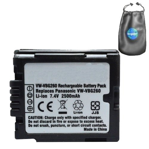 Digital Replacement Camera and Camcorder Battery for Panasonic VW: VBG260, VBG070 - Includes Lens Pouch by Amsahr
