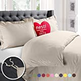 King Comforter Size Nestl Bedding Duvet Cover, Protects and Covers your Comforter / Duvet Insert, Luxury 100% Super Soft Microfiber, Cal King Size, Color Cream Beige, 3 Piece Duvet Cover Set Includes 2 Pillow Shams