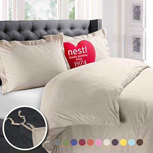 Nestl Bedding Duvet Cover, Protects and Covers your Comforter / Duvet Insert, Luxury 100% Super Soft Microfiber, Full Size, Color Cream Beige, 3 Piece Duvet Cover Set Includes 2 Pillow Shams (Cover Duvet Cream Full)