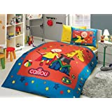 Caillou Bedding Set, Kids Boys Bedding, 100% Cotton Duvet/Quilt Cover Set, Single/Twin Size, COMFORTER INCLUDED (4 PCS, Blue Yellow)