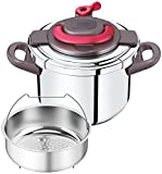 "Cheap T-fal pressure cooker""Kuripuso arch"" one-touch opening and closing IH corresponding paprika Red 6L P4360732"