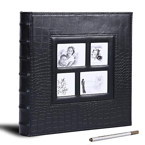 Magnetic Self-Stick Page Photo Album, DIY Self Adhesive Scrapbook Album, Leather Cover,60 Pages(30 Sheets), Holds 3X5, 4X6, 5X7, 6X8,8X10 Photos (Black)